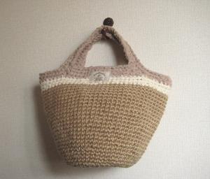 麻ひもと裂き布のミニかごバッグ