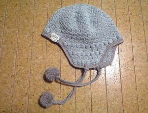 玉編みの耳あて帽